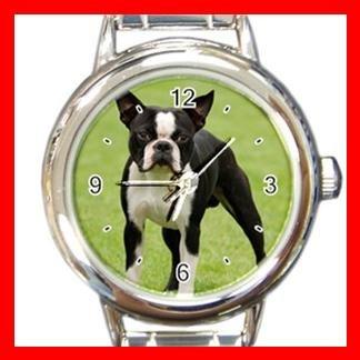Boston Terrier Dog Pet Animal Round Italian Charm Wrist Watch 366