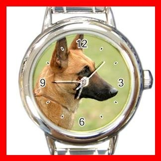 Belgian Malinois Dog Pet Animal Round Italian Charm Wrist Watch 369