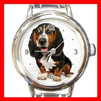 Basset Hound Dog Pet Animal Round Italian Charm Wrist Watch 370