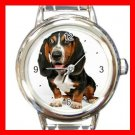 Basset Hound Dog Pet Animal Round Italian Charm Wrist Watch 370
