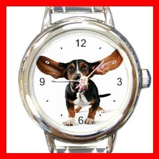 Basset Hound Dog Pet Animal Round Italian Charm Wrist Watch 371