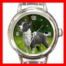 Basenji Dog Pet Animal Round Italian Charm Wrist Watch 372