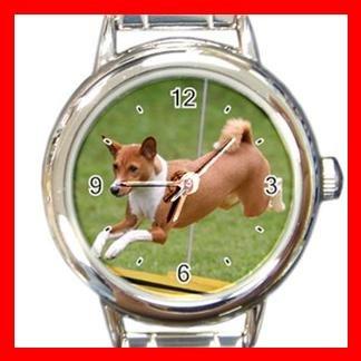 Basenji Dog Pet Animal Round Italian Charm Wrist Watch 373