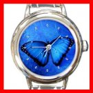 Butterfly in Blue Light Round Italian Charm Wrist Watch 377