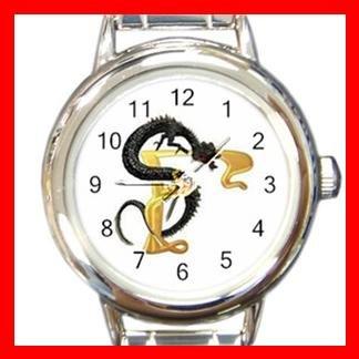 Dragon Letter F Fantasy Round Italian Charm Wrist Watch 379