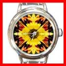 Fractal Sunflower Sun Flower  Round Italian Charm Wrist Watch 383