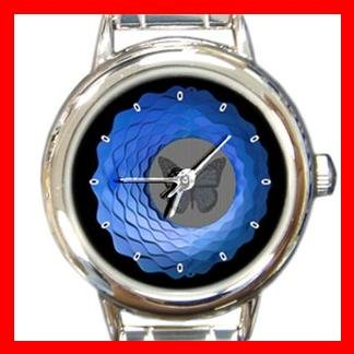 Animated Butterfly Fly Round Italian Charm Wrist Watch 386
