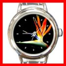 Birds Of Paradise Flower Round Italian Charm Wrist Watch 387