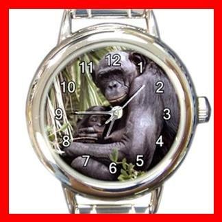 Bonobo Chimpanzee Animal Round Italian Charm Wrist Watch 388