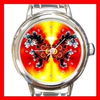 Fractal Butterfly Fly Color Round Italian Charm Wrist Watch 406