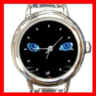 Black Cat Blue Eyes Round Italian Charm Wrist Watch 407