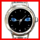 Black Cat Blue Eyes Round Italian Charm Wrist Watch 407