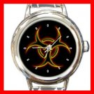 Biohazard Golden Bio Hazard Round Italian Charm Wrist Watch 408
