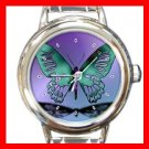 Blue Butterfly Stylish Round Italian Charm Wrist Watch 409