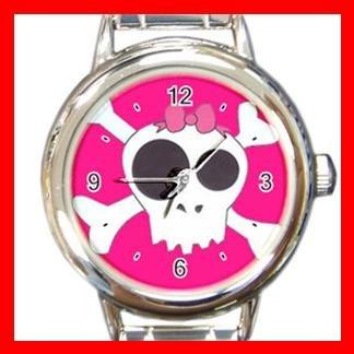 Fuchsia Skull Pink Hobby Round Italian Charm Wrist Watch 410