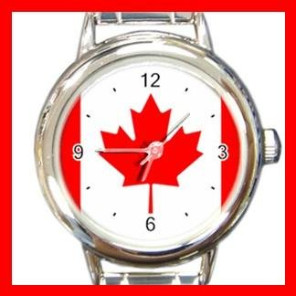 Canada Flag Maple Leaf Round Italian Charm Wrist Watch 418