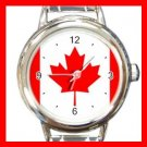 Canada Flag Maple Leaf Round Italian Charm Wrist Watch 418