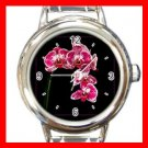 Pink Orchid Flower Stylish Round Italian Charm Wrist Watch 420