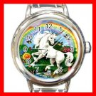 Unicorn Rainbow Flower Myth Round Italian Charm Wrist Watch 421