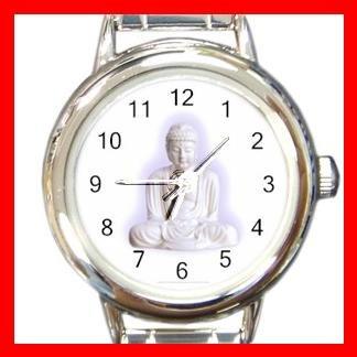 White Buddha Buddhism Faith Round Italian Charm Wrist Watch 429
