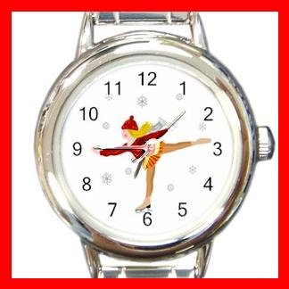 Ice Skating Sports Game Fun Round Italian Charm Wrist Watch 435