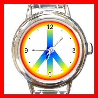 Tie Dye Peace Sign Hobby Fun Round Italian Charm Wrist Watch 439