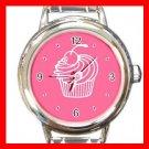 Cup Cake Dessert Round Italian Charm Wrist Watch 440