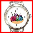 Knitting Yarn Craft Round Italian Charm Wrist Watch 442
