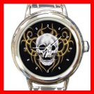 Skulls Skeleton Cool Round Italian Charm Wrist Watch 446