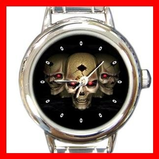 Skulls Skeleton Cool Round Italian Charm Wrist Watch 447