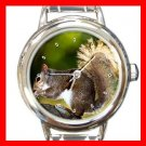Brown Squirrel Eating Animal Round Italian Charm Wrist Watch 449