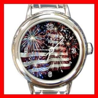 Fireworks American Flag Patriotic Round Italian Charm Wrist Watch 450