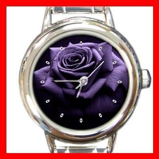 Purple Rose Print Flower Round Italian Charm Wrist Watch 451