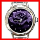 Purple Rose Print Flower Round Italian Charm Wrist Watch 451