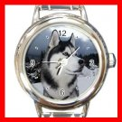 Siberian Husky Hunting Dog Round Italian Charm Wrist Watch 452