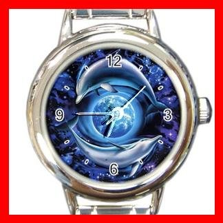 Dolphins Flying Earth Round Italian Charm Wrist Watch 460