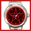 Red Wicca Pentagram Pentacle Round Italian Charm Wrist Watch 463