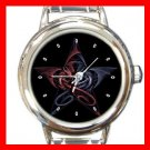 Wicca Pentagram Dragons Round Italian Charm Wrist Watch 464