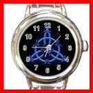 Wicca Pentagram Pagan Blue Round Italian Charm Wrist Watch 465