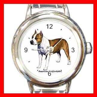 American Staffordshire Dog Pet Round Italian Charm Wrist Watch 471