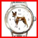 Basenji Dog Pet Round Italian Charm Wrist Watch 472