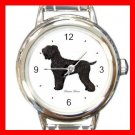 Black Russian Terrier Dog Pet Round Italian Charm Wrist Watch 473