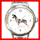 Chinese Crested Dog Pet Round Italian Charm Wrist Watch 475