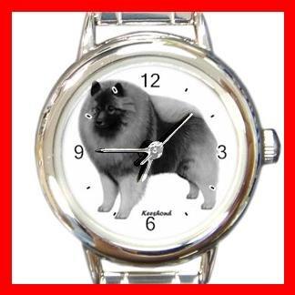 Keeshond Dog Pet Round Italian Charm Wrist Watch 480