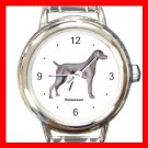 Weimaraner Dog Pet Round Italian Charm Wrist Watch 488