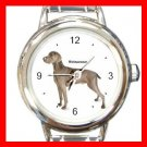 Weimaraner Dog Pet Round Italian Charm Wrist Watch 489