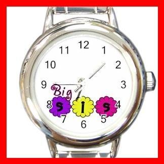 BIG SIS Sister Friendship Round Italian Charm Wrist Watch 491