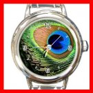 PEACOCK FEATHER Print Bird Round Italian Charm Wrist Watch 507
