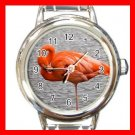 PINK FLAMINGO Bird Round Italian Charm Wrist Watch 509