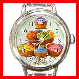 CUPCAKES FOODDESSERT KITCHEN Round Italian Charm Wrist Watch 510